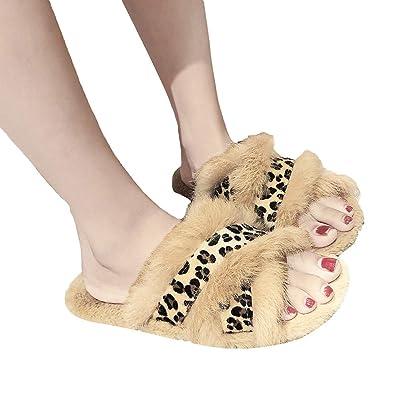 9d21a75d63bc66 Hffan Damen Herbst und Winter Leopardenprint Kreuzentwurf Warm Flache  Modisch Hausschuhe Rutschfest Plüsch Damenschuhe Slipper Bequemschuhe