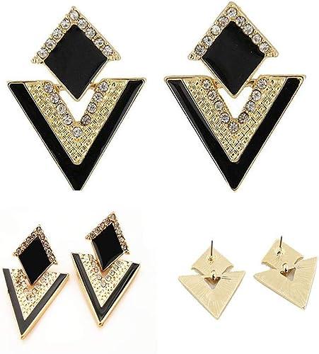 Fashion Women PU Leather Marbled Geometric Earrings Rectangle Alloy Jewelry