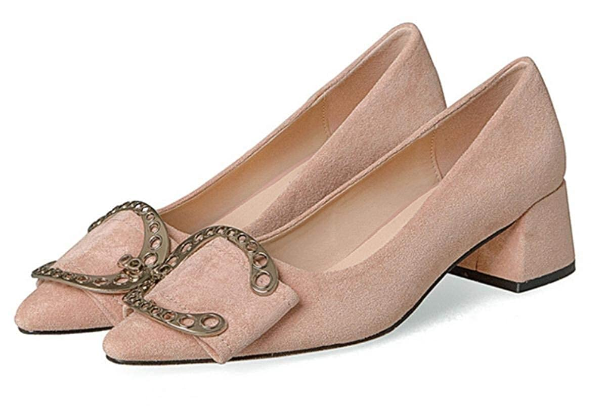 Lady Elegant Womens Court Shoes Pointed Head Thick Nude Shoes Shallow Mouth Buckle Solid Color Elegant Workplace Formal and Casual Universal Shoes