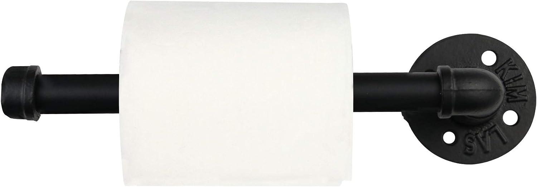 Soporte de papel higiénico para tubos de hierro | Colgador de papel de lavabo de hierro negro | Soporte de pared para baño | Diseño rústico | M&W