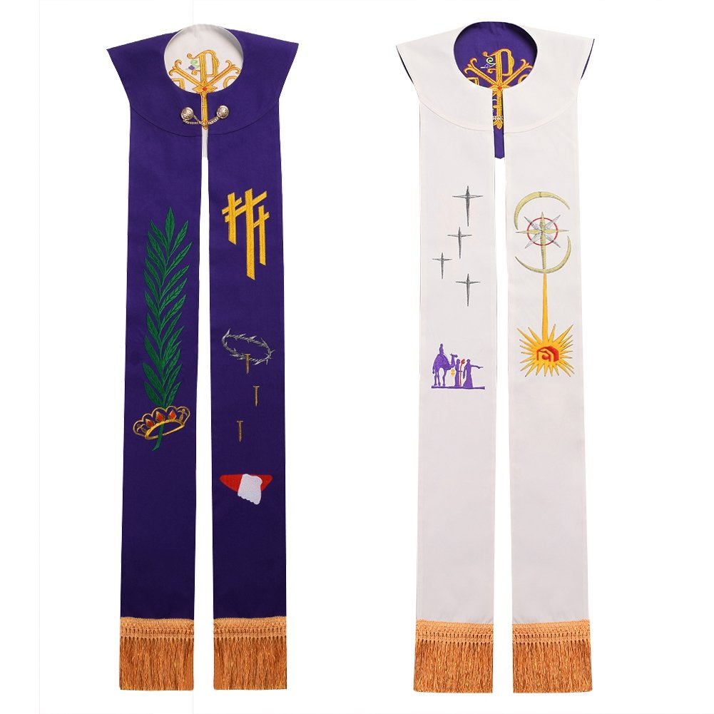 BLESSUME Kirche Stola Priester Masse Umkehrbare Gestickte Stola Weiß & Lila