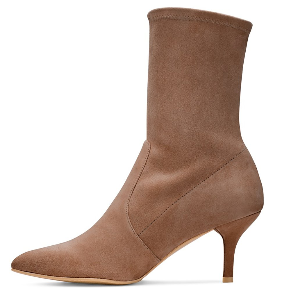 Sock Boots for Women,Women's Slip On Pointed Toe Mid Calf Boots Stretchy Suede Kitten Heel Booties B078RM73K6 12 B(M) US|Brown Suede-6.5cm