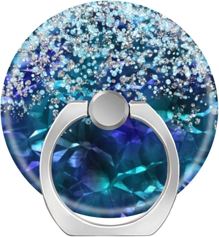 LoveStand-Cell Phone Ring Holder 360 Degree Finger Ring Stand for Smartphone Tablet and Car Mount-Blue and Teal Bling and Glitter