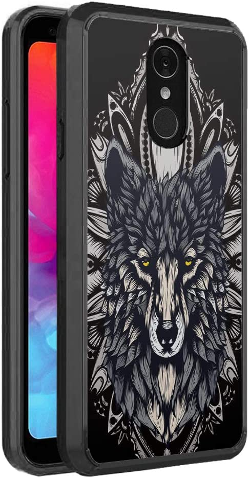 Moriko Compatible with LG Q7+ [Fusion Gel Slim Thin Hybrid Soft Grip Drop Protection Dust Proof Shockproof Full Body Black Case Protector Cover] for LG Q7 + Plus LG Q7 (Wolf)