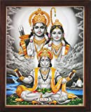 Lord Hanuman Reciting Sita Ram Sita Ram At River End, a Holy Hindu Religious Poster Painting with Frame for Worship Purpose