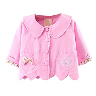 f4160790f Anglewolf Toddler Baby Kids Girls Cute Fashion Clothes Zipper Tops Baby  Soft Cotton Jackets Cardigan Spring Autumn Casual Thin Coat Outwear for  6~24M Baby ...
