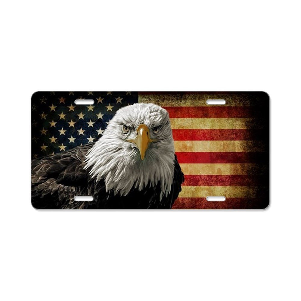 CafePress - Bald Eagle and Flag - Aluminum License Plate, Front License Plate, Vanity Tag