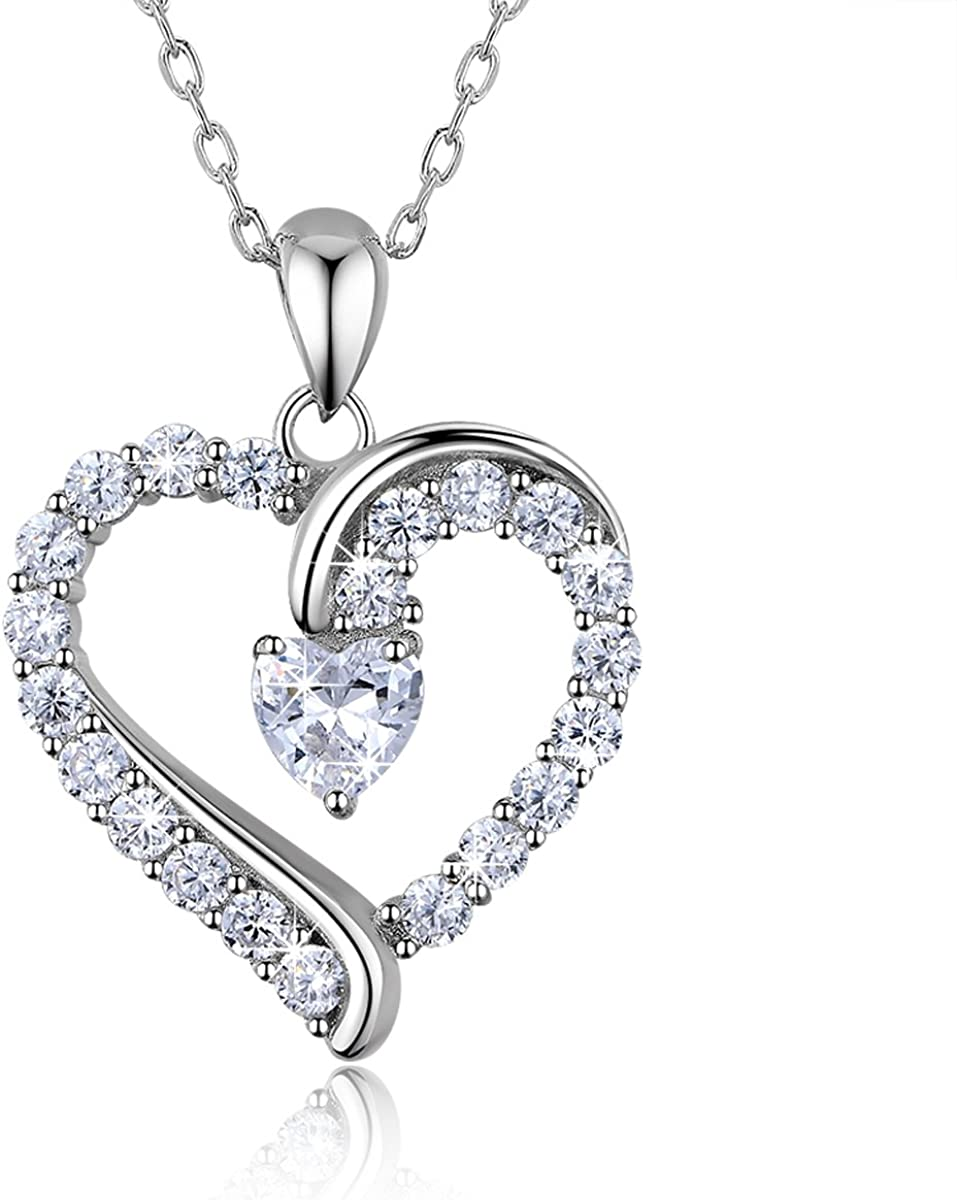 "925 Sterling Silver heart necklace - Billie Bijoux ""You Are the Only One"" Love Platinum Plated CZ Diamond pendant 18"" for Mother's Day"