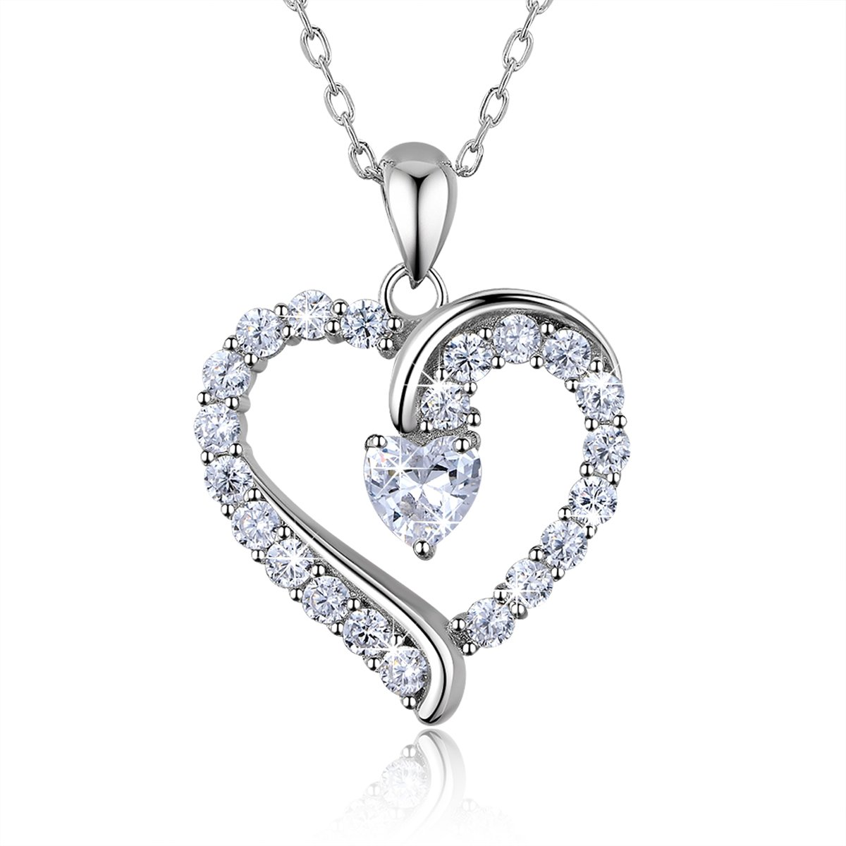 """925 Sterling Silver heart necklace - Billie Bijoux """"You Are the Only One"""" Love Platinum Plated Diamond pendant 18''"""