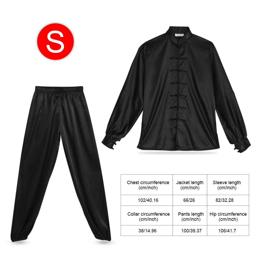 Kung Fu Uniform, Unisex Tai Chi Uniforms Kung Fu Uniform Suit Pants + Shirt Wing Chun Suit For Breathable Morning Exercise (S, Black) by Yosoo