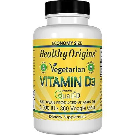 Healthy Origins - Vitamina D3 5000 IU - 360Cápsulas vegetarianas