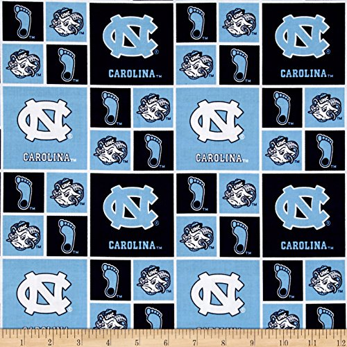 Sykel Enterprises Collegiate Cotton Broadcloth Univeristy of North Carolina Tar Heels Fabric by The Yard, Multi