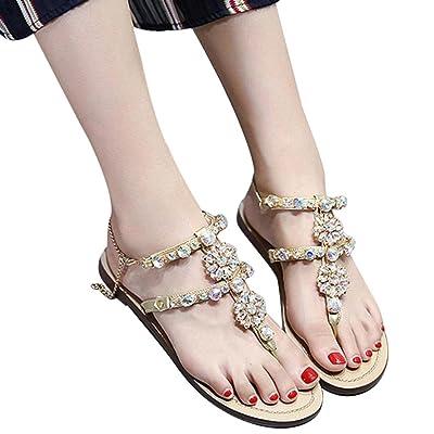 Paolian Femmes Sandales Plat Beau Diamant Coloré Decor Mode Chaussures de Plage d'été Design Unique, EU 35-36