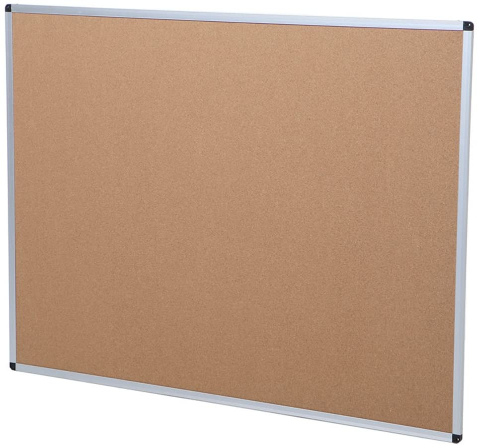 Silver Aluminium Frame 120x90 cm 2 Pack VIZ-PRO Cork Notice Board