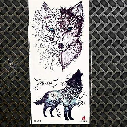 ruofengpuzi Adesivo tatuaggioLobo geométrico Etiqueta engomada del ...