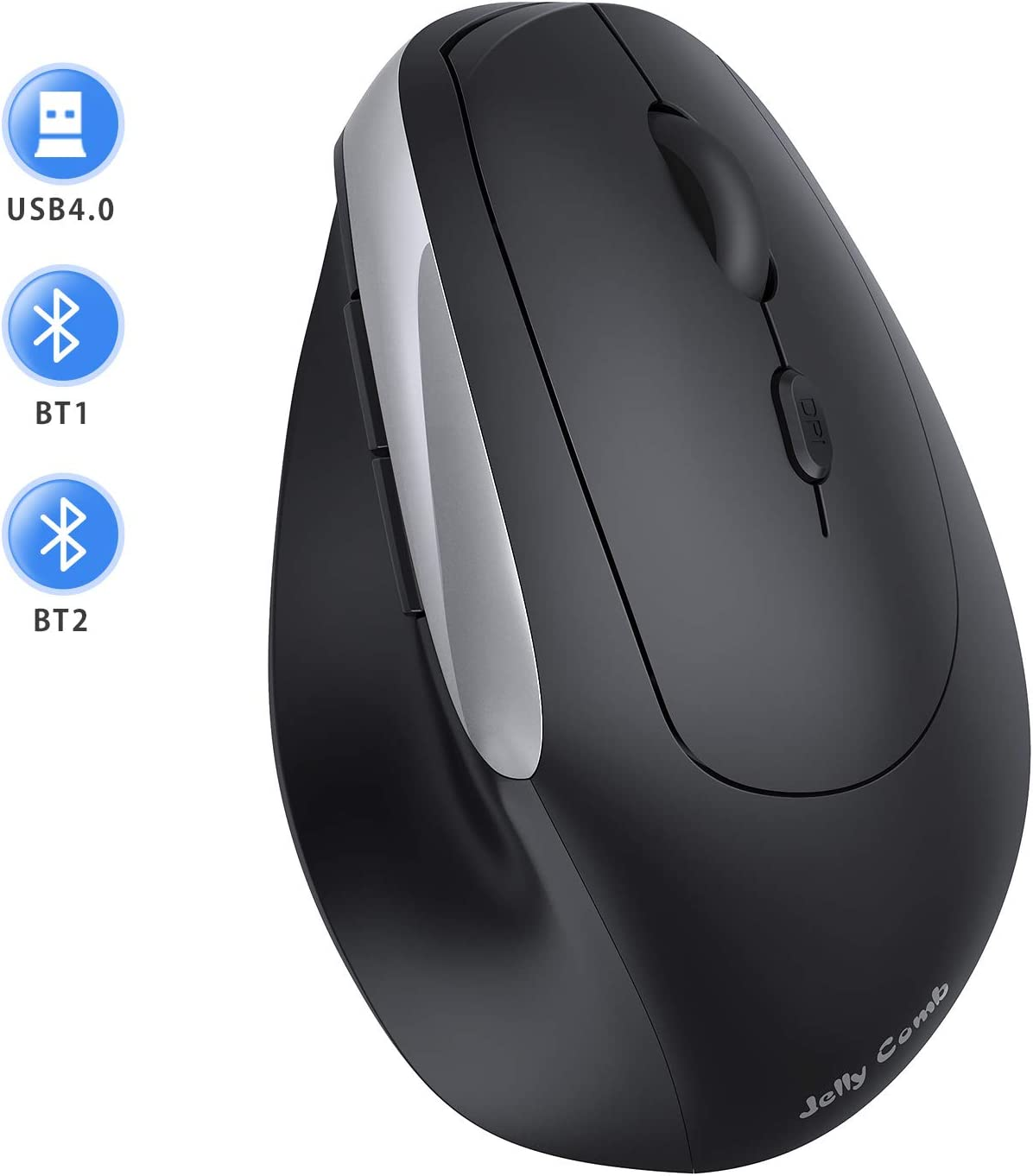 Wireless Bluetooth Vertical Mouse, Jelly Comb Triple Mode (BT 4.0+ BT 4.0+ USB)Ergonomic Mouse Bluetooth for iPad/iPhone (iOS 13 or Above), MacBook, Laptop, PC, Andriod