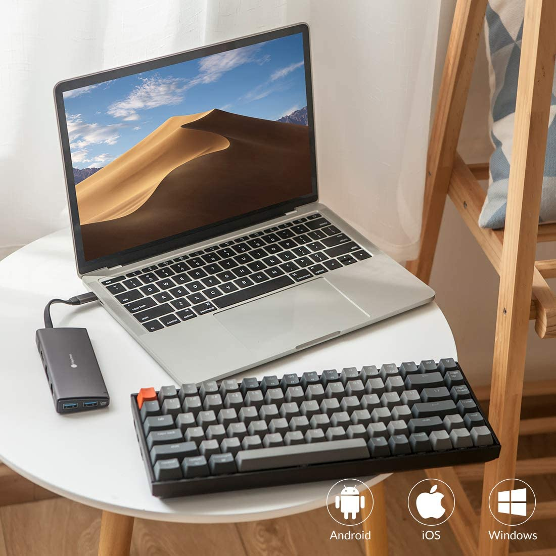 Mac and Windows Keychron K2 Bluetooth//USB-C Keyboard Gateron Blue White LED Backlit