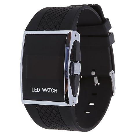 037434b63b47 SODIAL(R) Reloj Deportivo Digital LED Rojo LED para Hombre - Negro ...