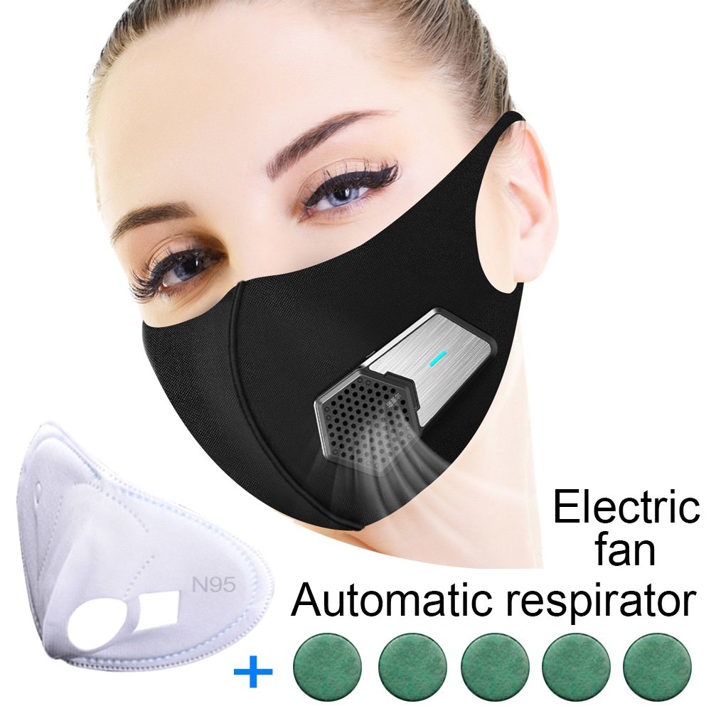 RYSEDE,PM 2.5 Electric Mask Actived Carbon Breathable Air Purifier Mask for Outdoor Sports, Face Dust Electronic Mask