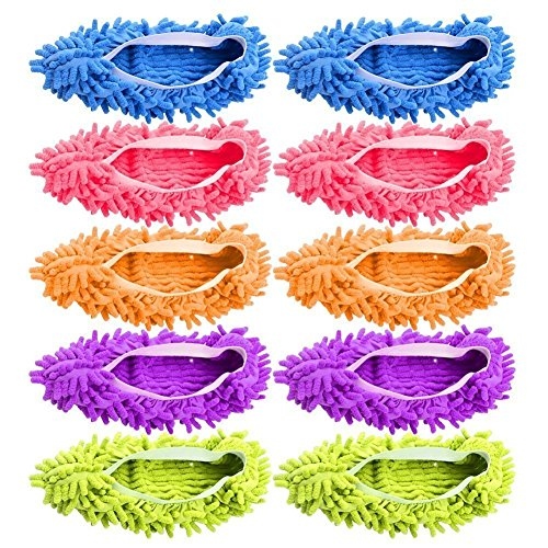 - AIFUSI Mop Slippers Shoes Cover Microfiber Dust Mop Slippers Cleaning Floor House for Bathroom,Office,Kitchen, 5 Pairs/10 Piece Green/Blue/Yellow/Pink/Purple