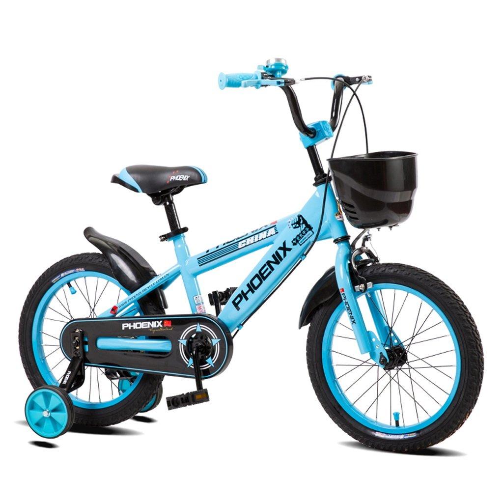 Bicicletas para niños Bicicletas Elegantes para niños y niñas 16/14/12/18 Pulgadas para bebés triciclos Individuales para niños (Azul) ( Size : 16 Inches )
