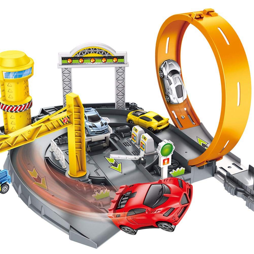 Children's Multi-Layer Race Car Tracks Assembled Track Toy Car Police Car Parking Lot Engineering Parking Lot Bounce Car Park Youngsown