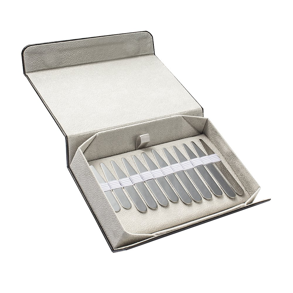 12PCS Stainless Steel Collar Stays, 4 Sizes, Deluxe Edition, Men Gift