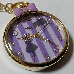 Amazon Disney ディズニー 不思議の国のアリス 懐中時計 キーチェーン ウォッチ アリス パープル 懐中時計 腕時計 通販