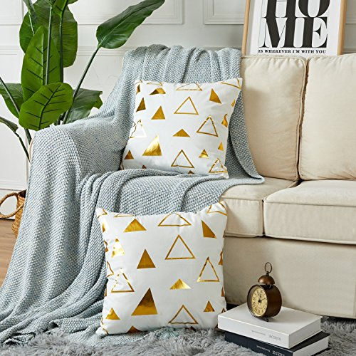 Sunday Set Palm (Sunday Praise Set of 2,Velvet Decorative Throw Pillow Covers Modern Geometric Pattern Gold Print Handmade Square Cushion Covers Pillow Shams for Couch/Sofa/Bed/Chair,18x18 Inches(Triangle))