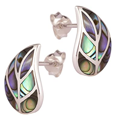 1dd55564b DTPSilver - 925 Sterling Silver and Abalone Paua Shell Leaf Studs Earrings:  Amazon.co.uk: Jewellery