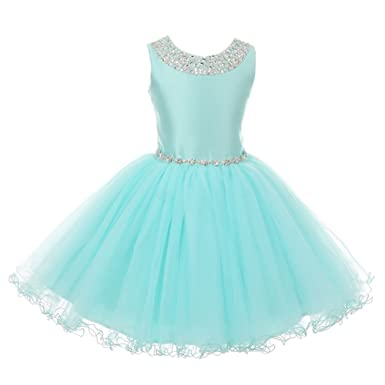 fda1e197d4f Cinderella Couture Big Girls Aqua Rhinestone Adorned Satin Tulle Junior  Bridesmaid Dress 16