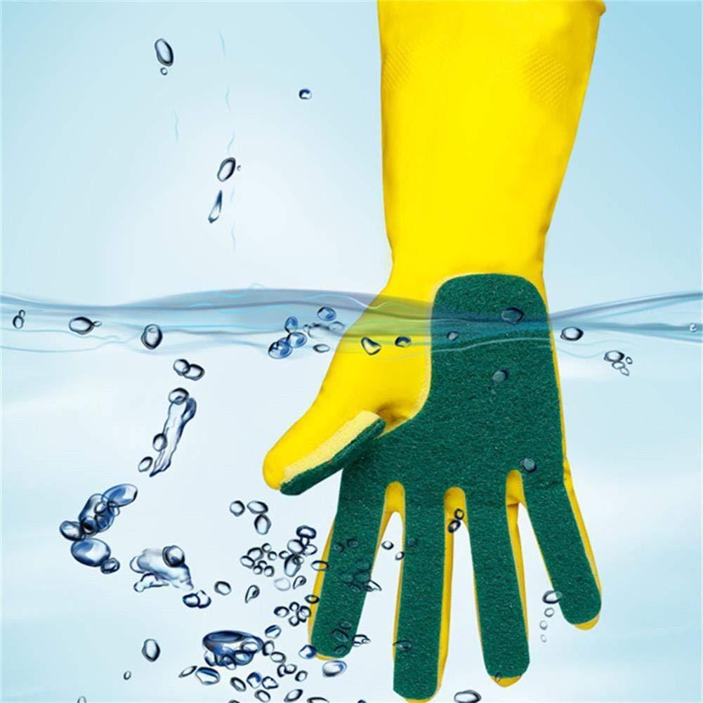 Everpert K/üchen-Wasch-Gummi Handschuhe Whith Latex Schwamm Peeling f/ür Geschirrsp/ülen Reinigung Scheuern