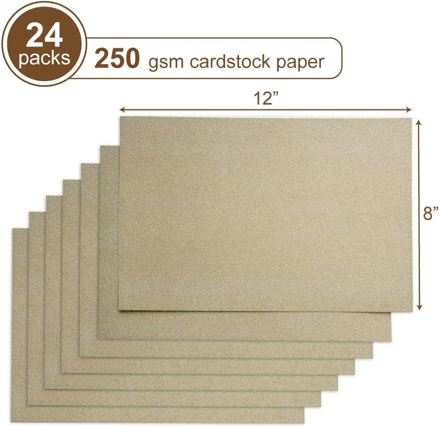 Pack of 24 Events Decorations Birthday Party KARRES Scrapbook 250gsm Gold Glitter Cardstock Paper 8 x 12 inches DIY Carft Projects Wedding
