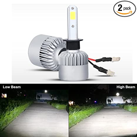 Amazon.com: HSUN H1 LED Headlight Bulb,All-in-One Conversion Kit-8000 Lumens Extremely Super Bright COB Chip,2 Pack,6500K White: Automotive
