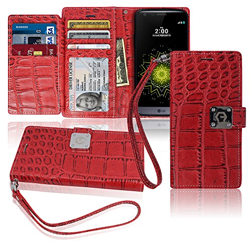 LG G5 Wallet Case, Matt [ 8 Pockets ] 7 ID / Credit Card 1 Cash Slot, Power Magnetic Clip With Wrist Strap For LGG5 Crocodile PU Leather Cover Flip Diary (Red) (Stores The Miami Falls)