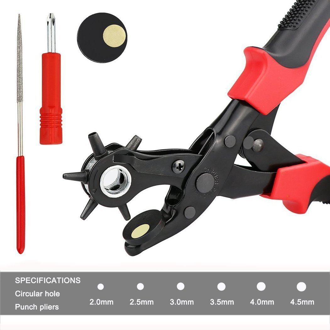 Xubox Leather Hole Punch Tool, Professional Revolving Punch Plier Kit for Easily Punching Perfect Round Holes, Belt Hole Puncher with Brass Pad, Screwdriver for Belt, Saddle, Watch Strap, Shoe, Fabric