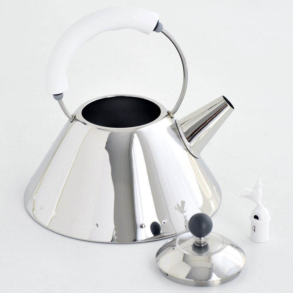 Alessi Kettle in 18/10 Stainless Steel Mirror Polished with Handle and Small Bird-Shaped Whistle in Pa, White by Alessi (Image #3)