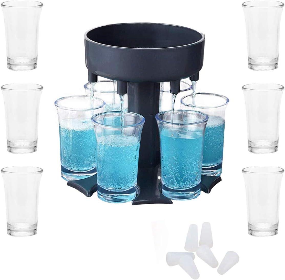 6 Shot Glass Dispenser and Holder -Dispenser For Filling Liquids, Shots Dispenser, (Blue)