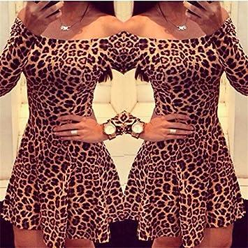 Women Sexy Leopard Dresses Long Sleeves Vestidos Femininos Slim Mini Dress S/M/L