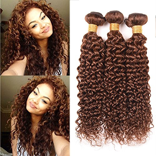 "Discount Black Rose Hair Virgin Brazilian Curly Hair Weave 3 Bundles 8A Unprocessed Brazilian Virgin Human Hair Curly Wave Extensions Colored 4# Dark Brown (95-100g/piece,10""x3) hot sale"