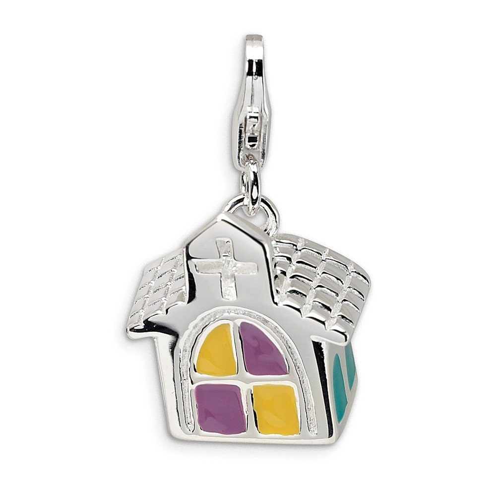 FB Jewels Solid 925 Sterling Silver 3-D Enameled Church Lobster Clasp Charm