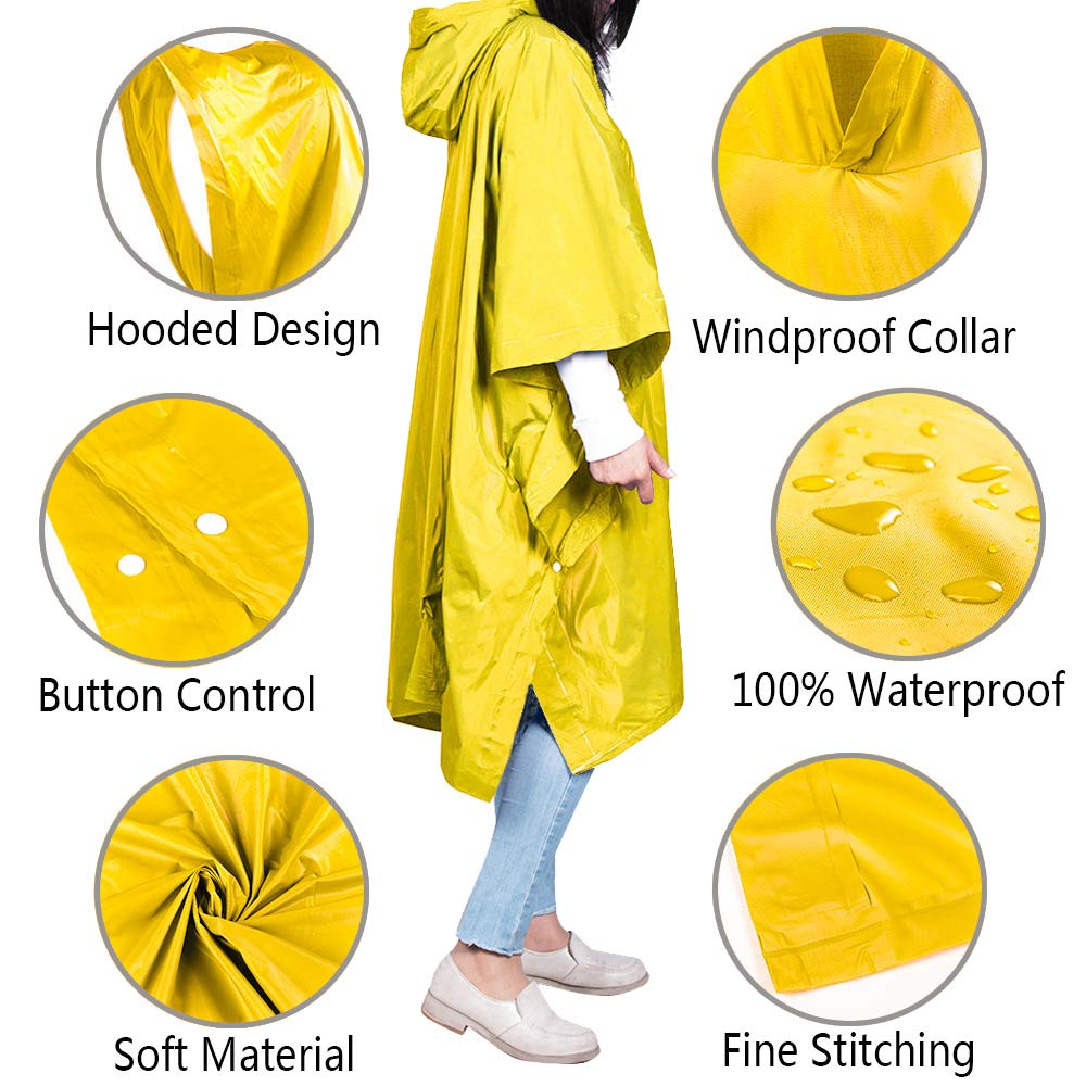 Unisex Rain Ponchos Raincoat Rain Jacket Adult Hooded Pullover Rain Poncho Waterproof Plus Size Poncho