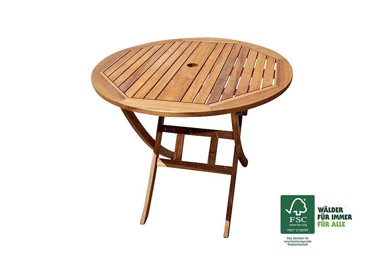 XXS® Akazie Holz Gartentisch mit Schirmloch | rund | FSC® 100% zertifiziert | hochwertiges massives Akazienholz für Garten | 90 cm rund