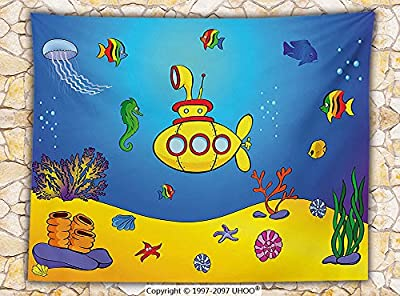 Yellow Submarine Fleece Throw Blanket Nautical Kids Colorful Fish Underwater Jellyfish Seahorse Shells Starfish Throw