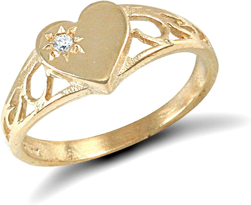 9ct Gold Baby//Childs Heart Signet Ring with White Stone