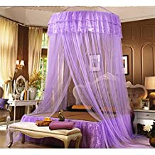 Saibang Bed Canopy Mosquito Net, Beautiful Princess Round Hoop Lace Bed Canopy Netting Curtains Mosquito Net (Purple)