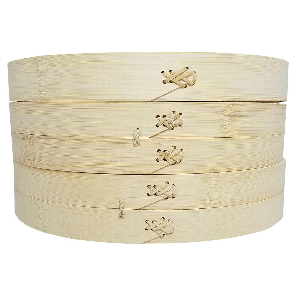 3 Piece Set - 100% Natural Bamboo Steamer Basket - Dumpling & Bun Steamer - Great for Asian Cooking, Buns, Dim Sum, Vegetables, Fish - 12 x 12 x 6.2 Inches