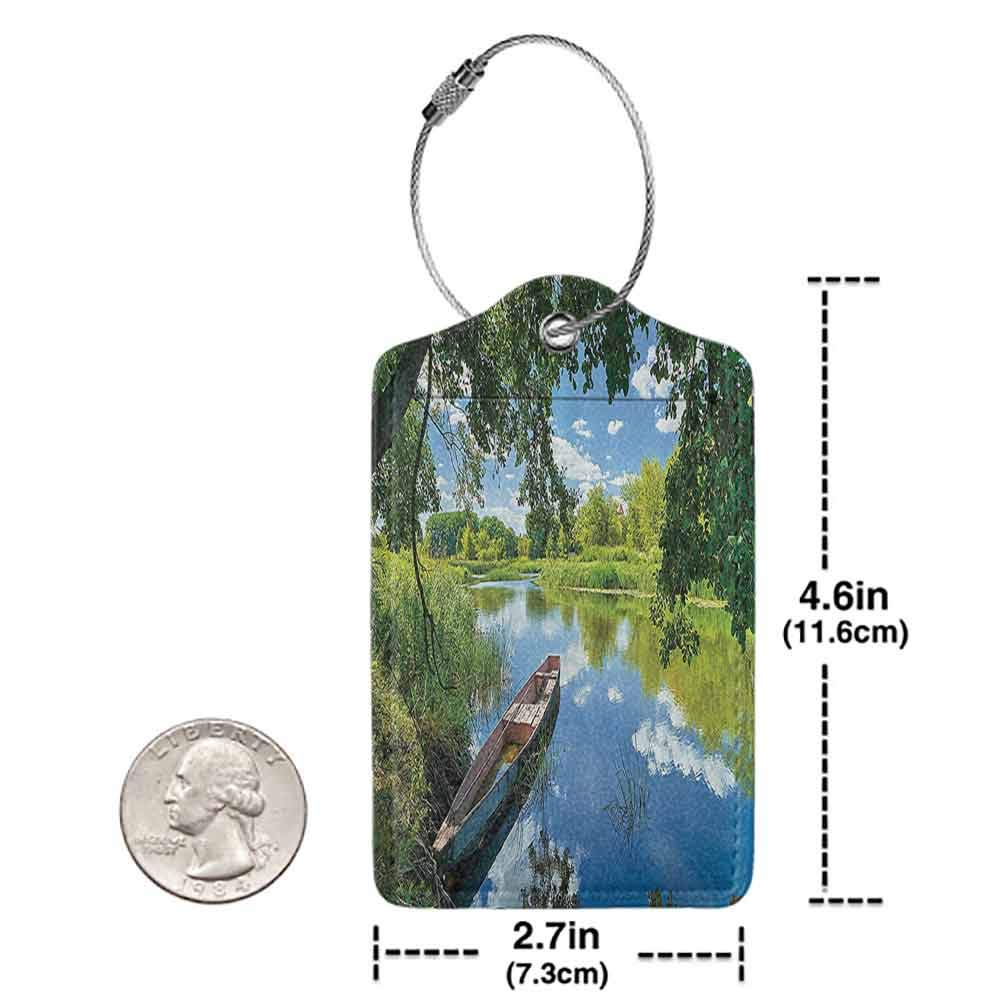 Decorative luggage tag Lakehouse Decor Collection Summer Landscape of Narew River of Poland with Boat Parked under Fresh Tree Picture Suitable for travel Green Blue Ivory W2.7 x L4.6