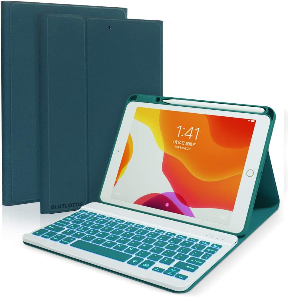 """Ipad 8th Generation 2020 Keyboard case, Keyboard case for iPad 10.5 10.2 2019 with Pencil Holder-7 Backlit-Detachable Wireless BT Keyboard for iPad 7th Gen 10.2""""/iPad Air 10.5""""/iPad Pro 10.5 (Teal)"""