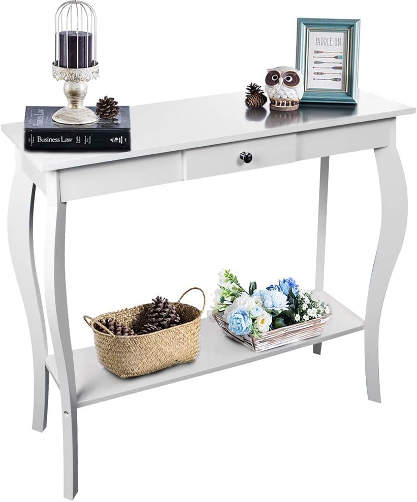 ChooChoo Narrow Console Table for Entryway, Silm Sofa Table with a Drawer and Wood Curved Legs, Tall Entryway Table for Hallway, Easy Assembly White